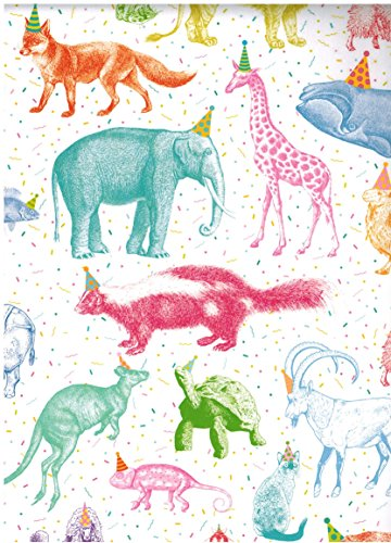 (Party Animals Rolled Gift Wrap Paper 2 Sheets 19.5 inches X 27.5 Inches)