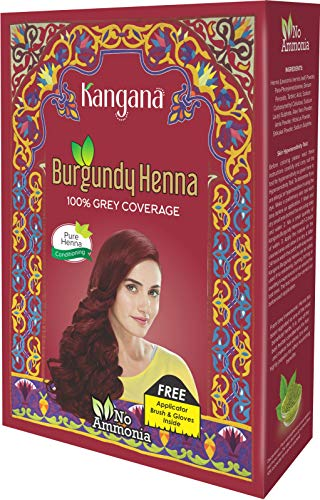 Kangana Burgundy Henna Powder for 100% Grey Coverage - Natural Henna Powder for Hair Dye/Color - 5 pouches inside- Total 50g (1.8 Oz)