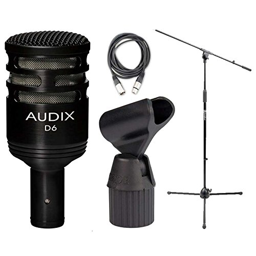 Audix D6 Cardioid Kick Drum Microphone w/ Boom Mic Stand, 20' XLR Cable, and ShockProof Mic Clip by Audix
