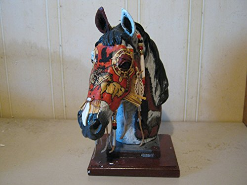 Decorated Mask - Chief Spirit Horse 13 Inch Hand Decorated Statue with Genuine Buckskin Mask # HSCS