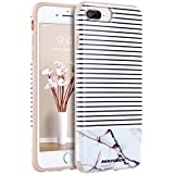 iPhone 8 Plus Case, iPhone 7 Plus Marble Case, BENTOBEN Slim 2 in 1 Marble Stripes Hybrid Hard PC Flexible TPU Drop Proof Protective Phone Case for iPhone 8 Plus/7 Plus - Marble Stripes