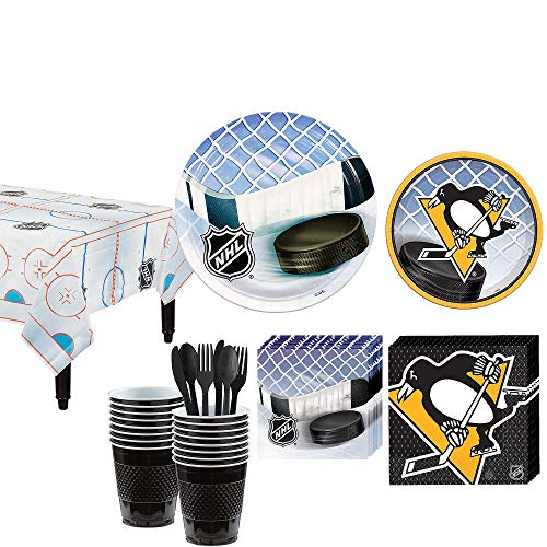 Party City Pittsburgh Penguins Party Kit for 16 Guests, Includes Table Cover, Plates, Napkins and -