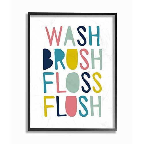 Framed Wash (The Kids Room by Stupell Wash Brush Floss Flush Typography Framed Giclee Texturized Art, 11 x 1.5 x 14, Proudly Made in USA)