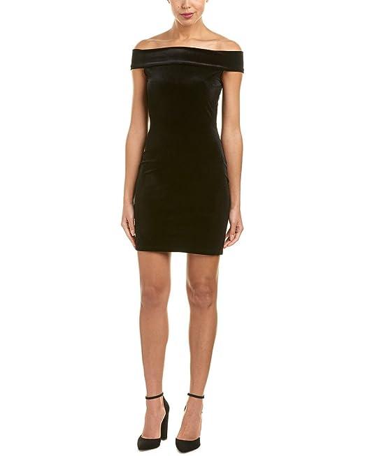 087fcd8fa0 Amazon.com  French Connection Women Velvet Off Shoulder Sheath Dress Black  12  Clothing
