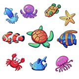 Non-Slip Bathtub Stickers Sea Animals Treads Decal Self Adhesive Safety Anti-Slip Appliques,Smooth Tile Wall Floor Decoration Sticker Bathtub and Bathroom Surface Stickers (Kids Favorite,Pack of 10)