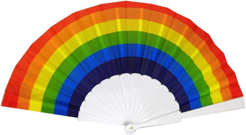 AIUIN Abanico Plegable 1 pcs Estilo Chino de Plastico Color Arcoiris abanicos Hechos a Mano,23cm (A)