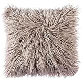 Ojia Deluxe Home Decorative Super Soft Plush Mongolian Faux Fur Throw Pillow Cover Cushion Case (18 x 18 Inch, Light Coffee)