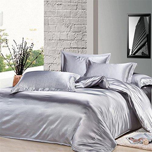 Newrara Home Textile, Silk Bedding, Mulberry Silk Bedding,silk Sheet Bed Set,double-sided Tencel Sheet Set,ice Silk Bedding,summer Bedding 4pcs (King (not include comforter))
