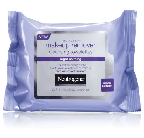 Neutrogena Makeup Remover Night Calming Cleansing Towelettes, Disposable Nighttime Face Wipes to Remove Dirt, Oil & Makeup, 25 ct (Pack of 2)