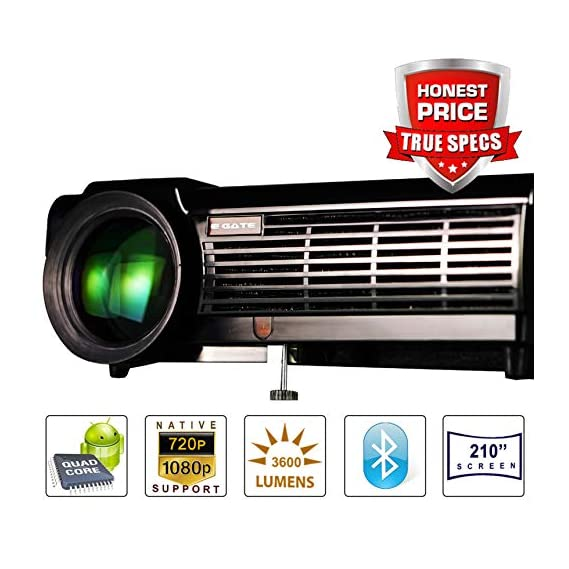 """Egate P513 Android with Native HD 1280 x800 + Full HD 1920 x1080 Support Resolution, 3900 L (510 ANSI) Professional LED Projector with 210"""" Display 