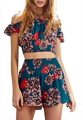 Hot Short Set (Summer Outits Women Bohemian Off Shoulder 2 Pieces Crop Top Shorts Set Floral Print Rompers Jumpsuits (S))