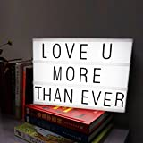 Cinema Light Box with 90 alphabets letters,number,symbols to create personalized marquee signs powered by battery and USB (Black A3)