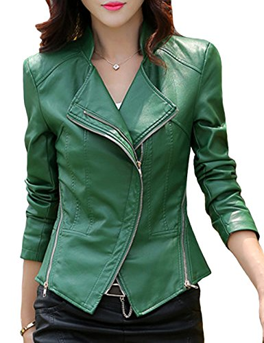 Tanming Women's Short Slim Slant Zip Faux Leather Moto Jacket Multiple Colors (Large, Green) ()