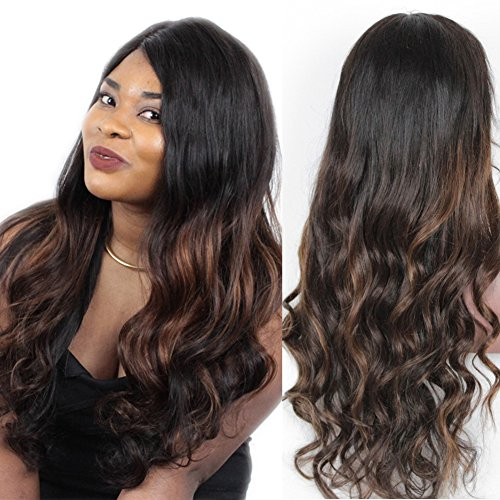 TopFeeling Brazilian Human Hair Full Lace Wigs for Black Women Glueless Body Wave Human Hair Wig Ombre