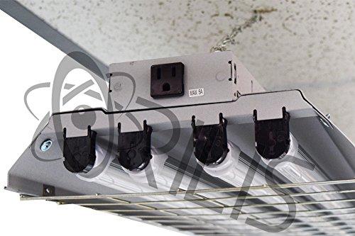 Grey 4 Ft 96 Watt Heavy Duty High Bay Hanging 4 Light Shop Light Plug In T8 Fixture With Pull