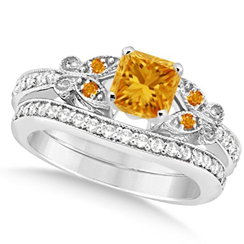 Preset Butterfly Citrine and Diamond Engagement Ring and Band Bridal Set 14k White Gold 1.55ctw