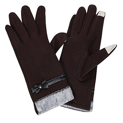【Ludus Felix】スマホ対応 手袋 女性用 レディース 防寒 グローブ 冬用 タッチパネル対応 リボン付き 裏ボア