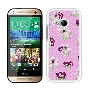 Funda carcasa para HTC One Mini 2 diseño estampado flores con lunares rosa borde blanco