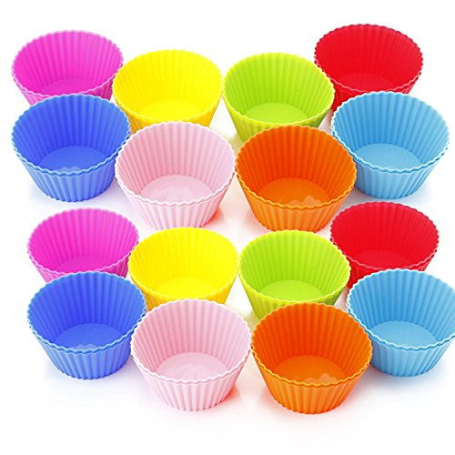 Silicone Cupcake Liners, PEMOTech 32 Pack Baking Cups, 8 Colors, FDA Approved & BPA free, Reusable and Nonstick Cupcake Holders,Muffin Molds for Cake Making, DIY Ice-cream
