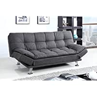 Best Quality Furniture Dark Gray Woven Fabric Sofa Futon
