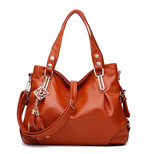 Women Leather Shoulder Tote Handbag Double Handle Tassel Large Purses for Travel Work Shopping (Brown)