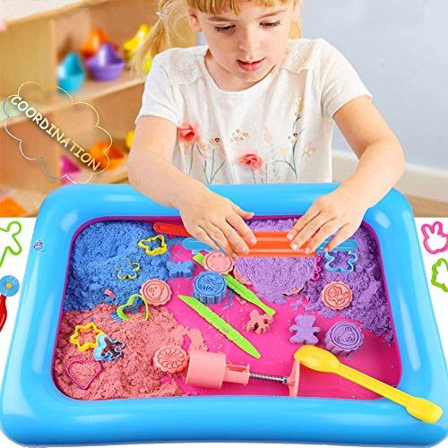 3 otters 37 PCS Play Sand Set for Kids, 4.4Pounds Magic Sand in 4 Colors Play Sand Molds with 1 Sand Tray for Age 3 4 5 6 7 and up, Boys and Girls