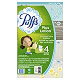 Puffs Plus Lotion Facial Tissue, 4 Family Boxes, 124 Tissues per Box