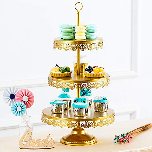 Sfeexun 3 Tier Gold Metal Dessert Cupcake Stand with Reversible Tiers, Round Cupcake Tower Display, 23