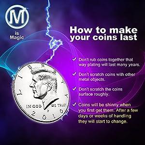 M Is Magic Magic Tricks Expanded Shell half dollar