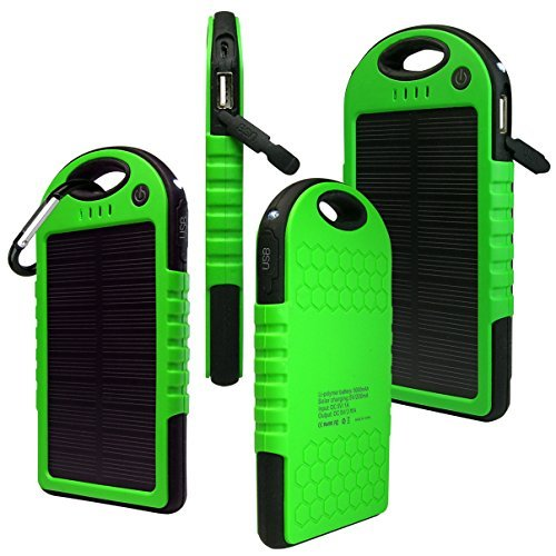 Solar Charger, Powercam, 5000 mAh, Waterproof, Drop Resistant, Shockproof, for iPhones, iPads, Android, Samsung phones, GPS devices and Cameras (Green)