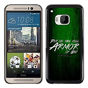 PC/Aluminum Funda Carcasa protectora para HTC One M9 BIBLE Put On The Armor Of God - Ephesians 6:11 / JUSTGO PHONE PROTECTOR