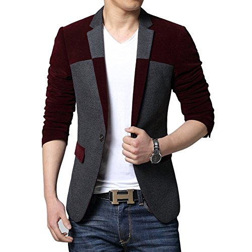One Coat Wool Button (MOGU Men's 1 Button Center Vent Wool Blend Blazer Jacket US Size 36(Tag Asian Size XXL) Wine Red)