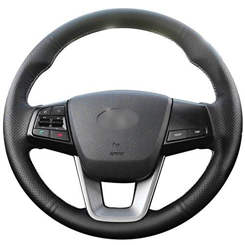 MEWANT Customized Black Genuine Leather Car Steering Wheel Cover for Hyundai ix25 2014-2016 Creta 2016 2017