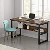 Tribesigns Computer Desk with Bookshelf Works as Office Desk Study Table Workstation for Home Office (57 inches, Dark)