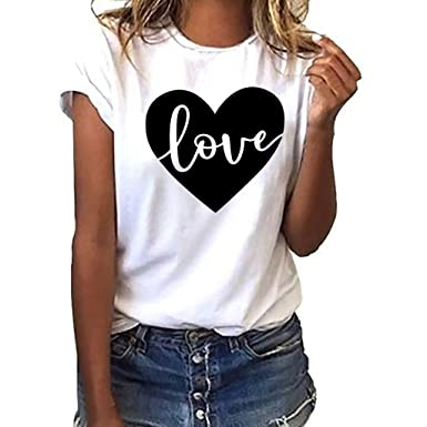 TOPKEAL Camisa de Manga Corta, Camiseta de Tallas Grandes Blusa con Estampado Love Tops Suelto Algodón Blusa Casual