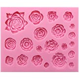 Funshowcase 21 Cavity Roses Collection Fondant Candy Silicone Mold for Sugarcraft Cake Decoration, Cupcake Topper, Polymer Clay, Soap Wax Making Crafting Projects