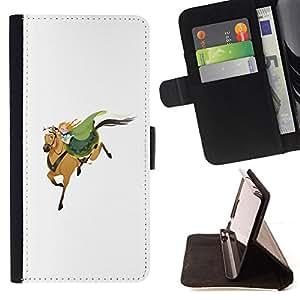 BullDog Case - FOR/Apple Iphone 5C / - / HORSEMAN WHITE GREEN REDHEAD CUTE /- Monedero de cuero de la PU Llevar cubierta de la caja con el ID Credit Card Slots Flip funda de cuer