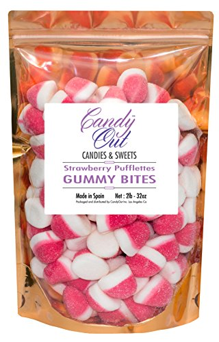 CandyOut Strawberry Pufflettes 2 Pound Pink & White Gummy Candy Bites in Stand-up Bag