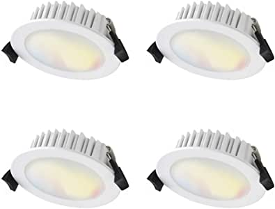 WiZ Smart Tunable Colours LED Downlight - 10W - 815lm 90mm cutout - Pack of 4 - 2200k~5500k - WiFi - No Hub Required - App and Voice control (Alexa, Google and Siri)