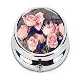 Turui Vintage roses Custom Fashion HOT Round Pill Box stainless steel Useful Medicine Organizer Box Gift