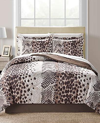 Safari Animal Duvet Cover and Pillowcases Leopard Striped Reversible Bedding Set