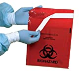 Stick-on Biohazard Bags, 12x14 inch, 2-3/5 quart, 100 per box