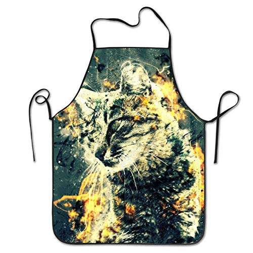 Lead-Do Turkish Cats Tabby Kitchen Aprons Funny Adjustable Chef Bibs for Cooking -