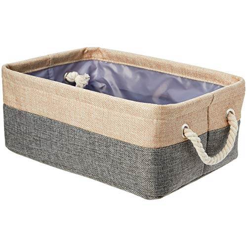 AmazonBasics Two Tone Linen Storage Basket Bin with Handles, Set of Two, Small
