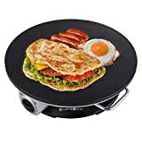 Health and Home No Edge Crepe Maker - 13 Inch Crepe Maker & Electric Griddle - Non-stick Pancake Maker- Crepe Pan