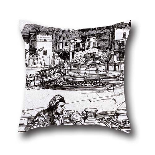 Throw Pillow Covers Of Oil Painting James Abbott McNeill Whistler - Black Lion Wharf,for Dinning Room,kids Room,her,deck Chair,car Seat 18 X 18 Inches / 45 By 45 Cm(two - Fake Whistler