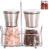 Salt and Pepper Grinder Set with Matching Stand - Adjustable Coarseness Ceramic Mill, Brushed Stainless Steel and Glass Salt & Pepper Mills Plus Extra Salt & Pepper Shakers & Ebook