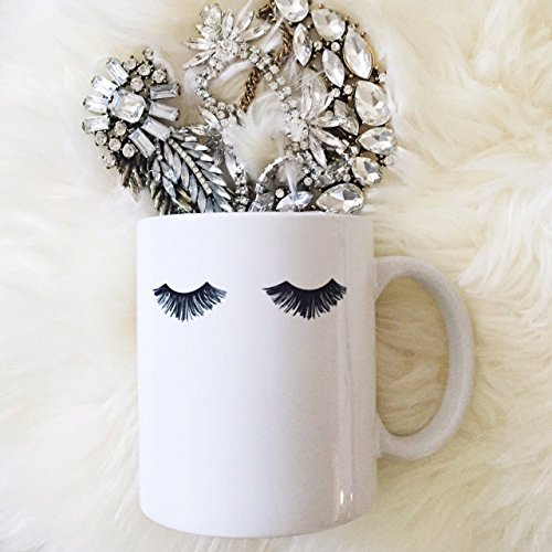 Eyelashes Porcelain Coffee Mug, Eyelashes Mug, Makeup Coffee Mug, Coffee Mugs With Artwork, Makeup Brush Holder, Minimal Coffee Mug, Coffee Mug for Women, Coffee Mug for Mom