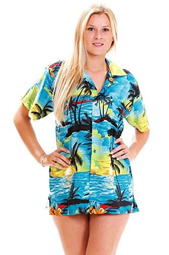 (Funky Hawaiian Shirt For Women, Surf, turquoise, XS)