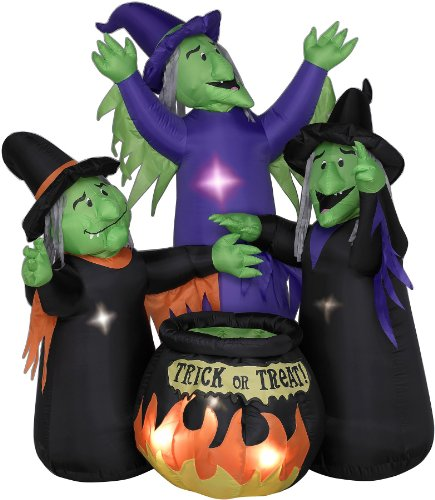 Animated Airblown 3 Witches with Cauldron -